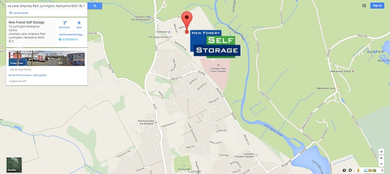 Location Of New Forest Self Storage Stores Individual